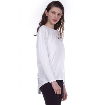 WOMEN RELAXED LONG SLEEVE T-SHIRT 061001-ΛΕΥΚΟ ΛΕΥΚΟ