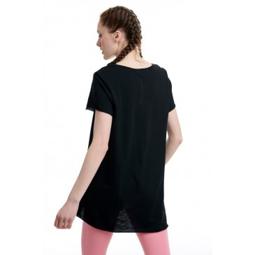 BDTKW LONG LOOSE TSHIRT 100CO  1201-903528-100 ΜΑΥΡΟ
