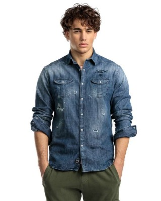 MENS JEANS SHIRT 1J015050LS1364CO ΜΠΛΕ