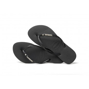 HAVAIANAS SLIM METAL LOGO AND CRYSTAL BLACK  4129769.0090 ΜΑΥΡΟ