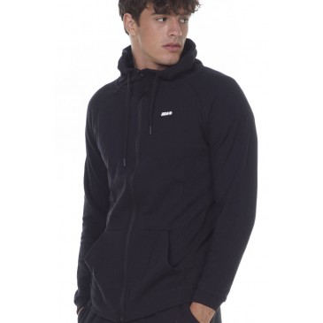 MEN FULL ZIP TRAINING HOODIE 073029-ΜΑΥΡΟ ΜΑΥΡΟ