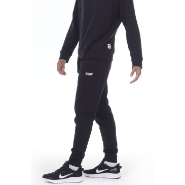 MEN FLEECE SPORTSTYLE JOGGERS 023012-ΜΑΥΡΟ ΜΑΥΡΟ