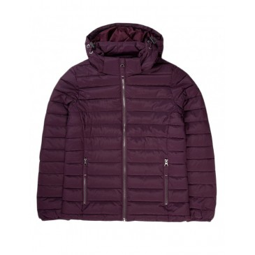 Womens P.P.Down Jacket with Hood 192.EW10.132 BORDEAUX