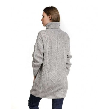 WOMENS KNITTED PULL 2D20FW6507LS1100-ΓΚΡΙ ΓΚΡΙ