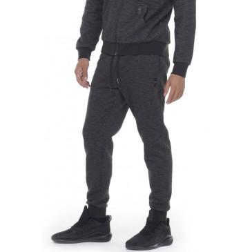 MEN SLIM FIT SWEAT PANTS 023011-ΜΑΥΡΟ ΜΑΥΡΟ