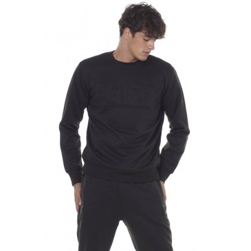 MEN CREW NECK SWEATSHIRT 063005-ΜΑΥΡΟ ΜΑΥΡΟ