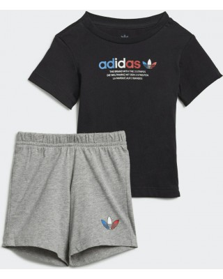 ADIDAS ORIGINALS adicolor short tee set GN7414 ΜΑΥΡΟ/ΓΚΡΙ