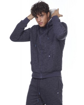 BODYACTION MEN FUR LINED ZIP HOODIE 073004-01-ΜΠΛΕ ΜΠΛΕ