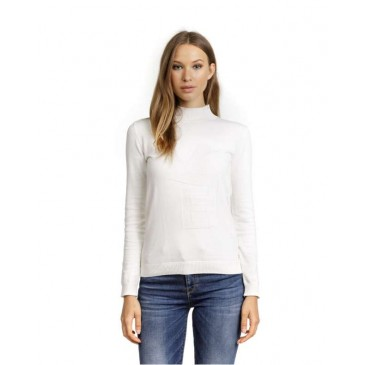 WOMENS KNITTED PULL 2D20FW6514LS1000-ΛΕΥΚΟ ΛΕΥΚΟ