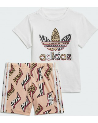 ADIDAS ORIGINALS GRAPHIC PRINT SHORT TEE SET GN2228 ΛΕΥΚΟ
